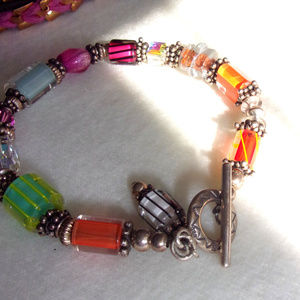 Jewelry - Silver Glass work bead bracelet bright beads